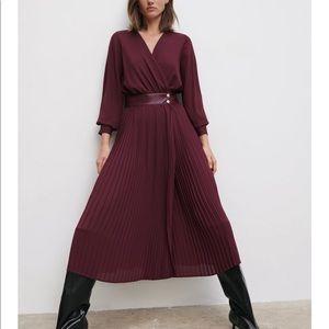 Zara Pleated Midi Dress